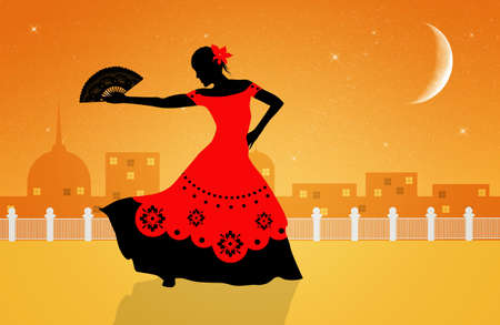 Illustration of flamenco dancer illustration