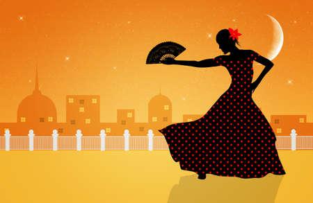 Illustration of flamenco dancer illustration