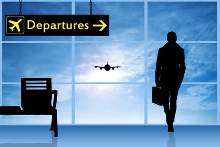 plain postcards: Departures in airport