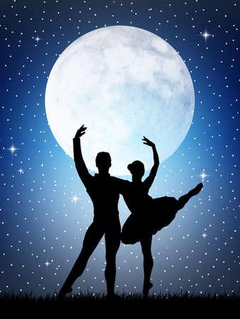 male ballet dancer: Dancers in the moonlight