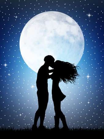 Romantic couple in the moonlight photo