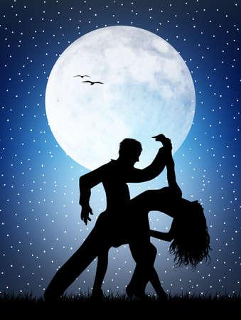 jazz dancer: Dancers in the moonlight