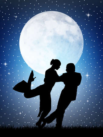 Tango in the moonlight Stock Photo