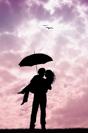 Couple with umbrella photo
