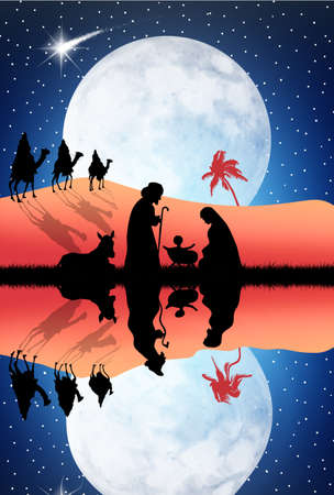 three animals: Christmas Nativity Scene Stock Photo