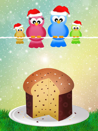 raisin: birds with panettone Stock Photo