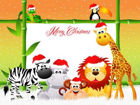 cartoon palm tree: Wild animals at Christmas Stock Photo