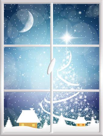 snow wreath: Christmas tree on window Stock Photo