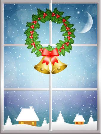 Christmas wreath on window photo