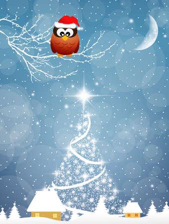 Eule mit Weihnachtsmütze Standard-Bild