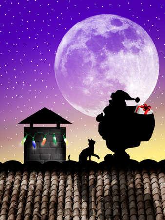 Santa Claus on roof photo