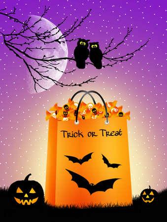 halloween skeleton: Trick or treat Stock Photo