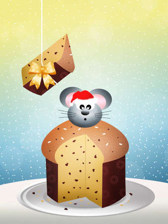 Mouse on panettone photo