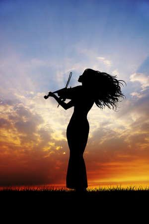 violinist: violinist at sunset