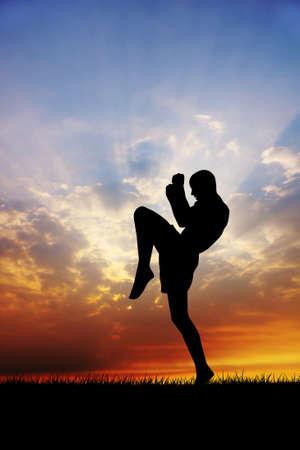kickboxing: muay thai at sunset