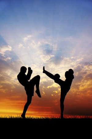 thai dance: muay thai at sunset