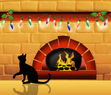 Fireplace at Christmas Stock Photo - 22221446