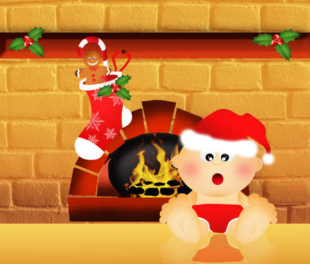 Child with Christmas sock on fireplace Stock Photo - 22221447