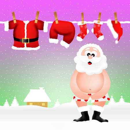 Santa Claus in his underwear