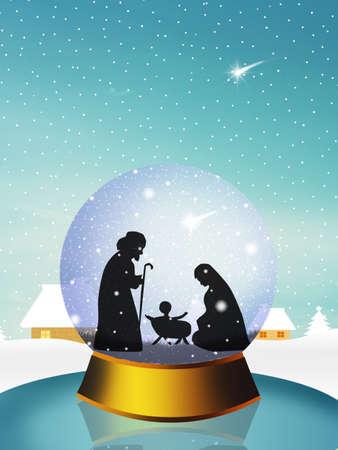 nascita di gesu: Presepe di Natale nella sfera di cristallo Archivio Fotografico