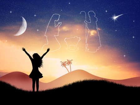 presepe: Christmas Nativity Scene in the sky