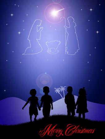 presepe: Christmas crib in the sky