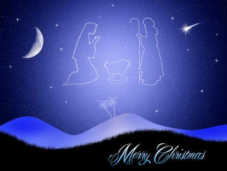 Christmas Nativity Scene in the sky photo