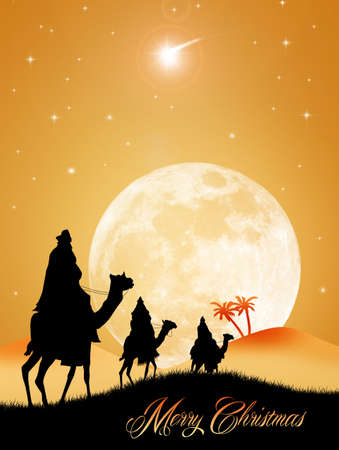 Three wise men at Christmas photo