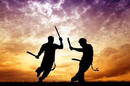 backlighting: capoeira with swords