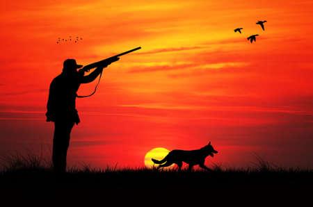 日没の狩猟 写真素材