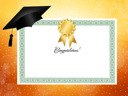 credential: Illustration of diploma Stock Photo