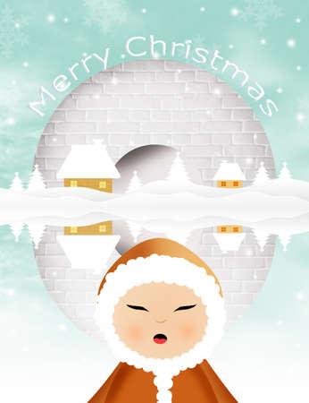 eskimo dog: Christmas postcard Stock Photo