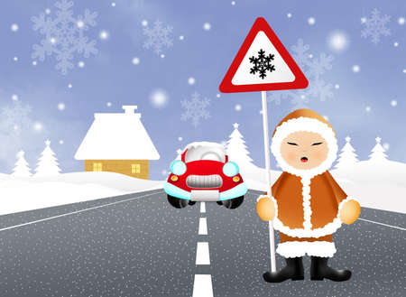 north pole sign: Eskimo with snow danger sign