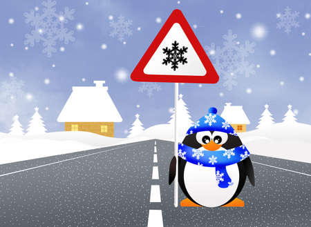 snow tires: Penguin with snow sign Stock Photo