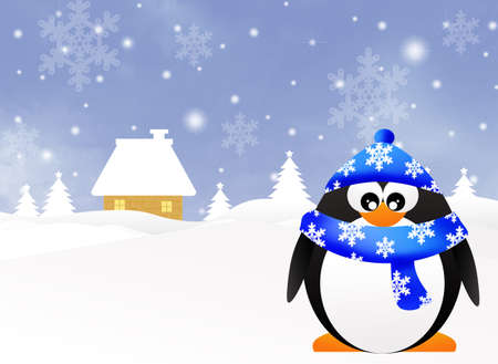 Penguin in winter photo