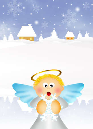 Angel cartoon in winter photo