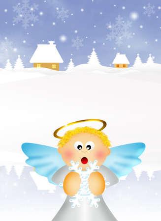 aureola: Angel cartoon in winter