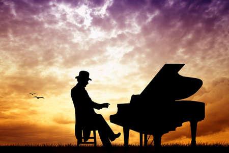 instrumental: pianist at sunset