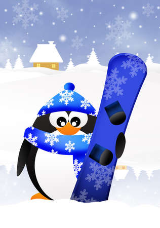 Penguin with snowboard photo