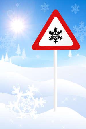 snow tires: danger snow sign