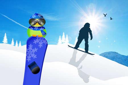 Bird with snowboard photo