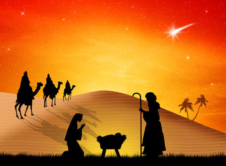 myrrh: Christmas Nativity Scene Stock Photo