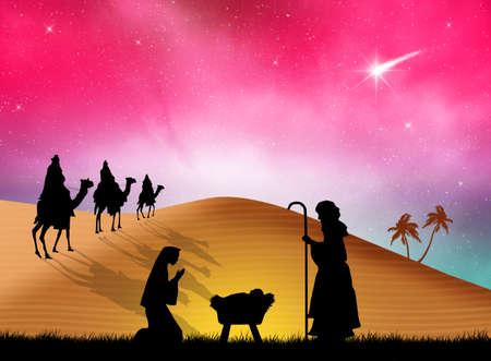 presepe: Christmas Nativity Scene Stock Photo