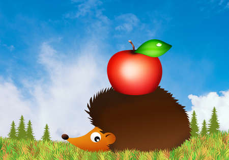 healt: hedgehog with apple