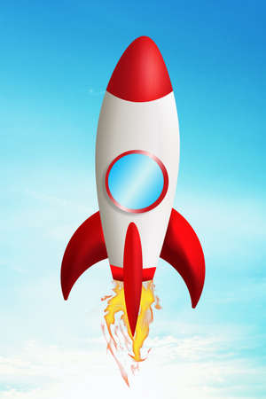 cartoon space: rocket taking off