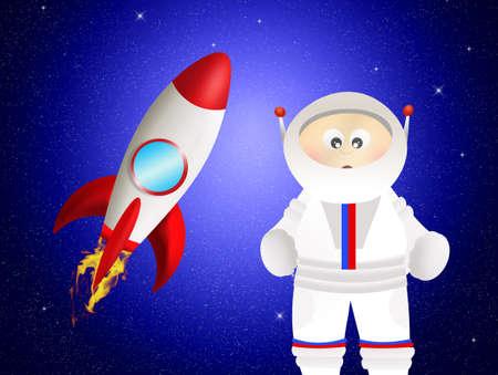 Cartoon astronaut on the moon photo