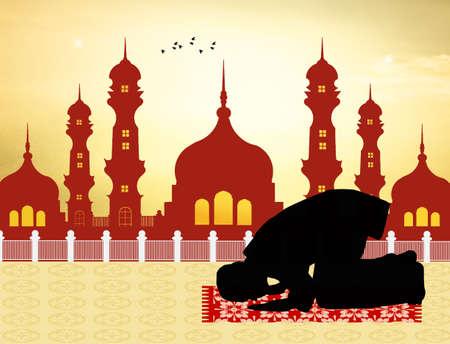 man praying: A muslim man praying