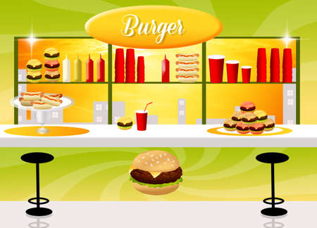 illustration of burger shop illustration