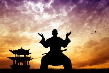 Samurai ninja at sunset photo