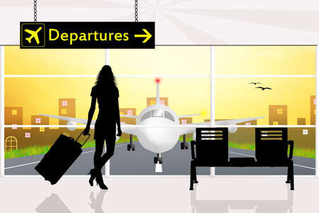 bisiness: departures in airport Stock Photo
